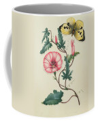 Convolvulus With Yellow Butterfly Coffee Mug by English School