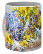 Daffodils Antique Jugs Plates Textiles And Lace Coffee Mug by Joan Thewsey