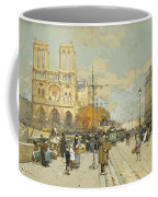 Figures On A Sunny Parisian Street Notre Dame At Left Coffee Mug by Eugene Galien-Laloue