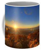 First Morning Light Striking Top Of Trees Coffee Mug by Dan Friend