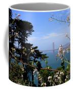 Golden Gate Bridge And Wildflowers Coffee Mug by Carol Groenen