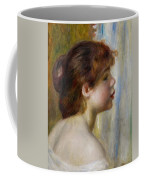 Head Of A Young Woman Coffee Mug by Pierre Auguste Renoir