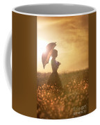 Historical Woman With Parasol In A Meadow At Sunset Coffee Mug by Lee Avison