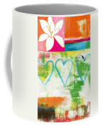 In Bloom- Colorful Heart And Flower Art Coffee Mug by Linda Woods