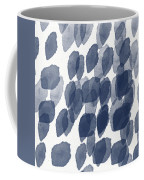 Indigo Rain- Abstract Blue And White Painting Coffee Mug by Linda Woods
