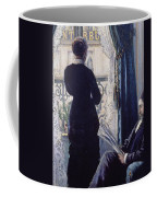 Interior Woman At The Window Coffee Mug by Gustave Caillebotte