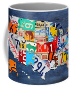 License Plate Map Of The United States - Small On Blue Coffee Mug by Design Turnpike