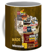 Made In Wisconsin Products Vintage Map On Wood Coffee Mug by Design Turnpike
