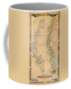 Map Depicting Plantations On The Mississippi River From Natchez To New Orleans Coffee Mug by American School