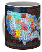 Map Of The United States In Vintage License Plates On American Flag Coffee Mug by Design Turnpike