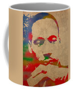 Martin Luther King Jr Watercolor Portrait On Worn Distressed Canvas Coffee Mug by Design Turnpike