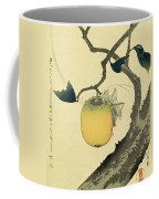 Moon Persimmon And Grasshopper Coffee Mug by Katsushika Hokusai