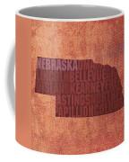 Nebraska Word Art State Map On Canvas Coffee Mug by Design Turnpike
