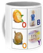 O Boy Art Alphabet For Kids Room Coffee Mug by Irina Sztukowski