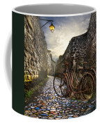 Old Bicycles On A Sunday Morning Coffee Mug by Debra and Dave Vanderlaan