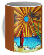 Original Tropical Surfing Whimsical Fun Painting Waiting For The Surf By Madart Coffee Mug by Megan Duncanson