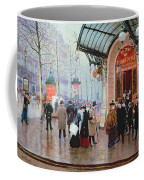 Outside The Vaudeville Theatre Coffee Mug by Jean Beraud
