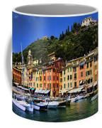 Panorama Of Portofino Harbour Italian Riviera Coffee Mug by David Smith
