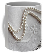 Pearls And Old Linen Coffee Mug by Barbara Griffin