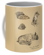 Peke, Collie, Spaniel And German Boxer Coffee Mug by Cecil Charles Windsor Aldin