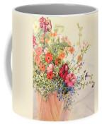 Petunias Lobelias Busy Lizzies And Fuschia In A Terracotta Pot Coffee Mug by Joan Thewsey