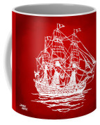 Pirate Ship Artwork - Red Coffee Mug by Nikki Marie Smith