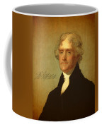 President Thomas Jefferson Portrait And Signature Coffee Mug by Design Turnpike