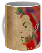 Prince Watercolor Portrait On Worn Distressed Canvas Coffee Mug by Design Turnpike
