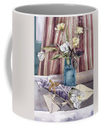 Roses Tulips And Striped Curtains Coffee Mug by Julia Rowntree