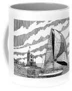 Holland Harbor Lighthouse And Spinaker Flying Sailboat Coffee Mug by Jack Pumphrey