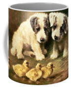 Sealyham Puppies And Ducklings Coffee Mug by Lilian Cheviot