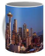 Seattle Winter Evening Panorama Coffee Mug by Inge Johnsson