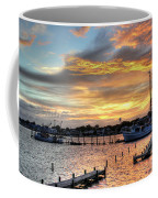 Shrimp Boats At Sunset Coffee Mug by Benanne Stiens
