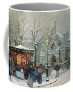 Snow Scene In Paris Coffee Mug by Eugene Galien-Laloue