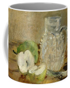 Still Life With A Cut Apple And A Pitcher Coffee Mug by Berthe Morisot