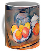 Straw Covered Vase Sugar Bowl And Apples Coffee Mug by Paul Cezanne