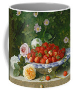 Strawberries In A Blue And White Buckelteller With Roses And Sweet Briar On A Ledge Coffee Mug by William Hammer