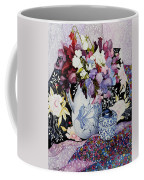 Sweet Peas In A Blue And White Jug With Blue And White Pot And Textiles  Coffee Mug by Joan Thewsey