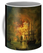 The Destruction Of The Turkish Fleet At The Bay Of Chesma Coffee Mug by Jacob Philippe Hackert