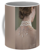 Woman Wearing A Pearl Necklace And Earring Set Coffee Mug by Lee Avison
