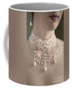 Woman With Pearl Choker Necklace Coffee Mug by Lee Avison