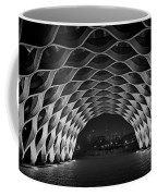 Wooden Archway With Chicago Skyline In Black And White Coffee Mug by Sven Brogren