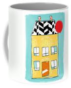 Yellow Flower House Coffee Mug by Linda Woods