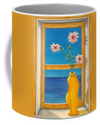 Yellow Vase With Sea View Coffee Mug by Pamela Allegretto