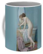 Young Woman Preparing Her Bath  Coffee Mug by Jules Scalbert
