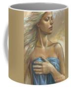 Young Woman With Blue Drape Crop Coffee Mug by Zorina Baldescu