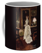 Interior Scene With A Lady In A White Evening Dress  Coffee Mug by Paul Fischer