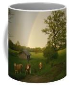 A Double Rainbow Arcs Over A Field Coffee Mug by Carsten Peter