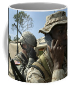 A Marine Communicates With Aircraft Coffee Mug by Stocktrek Images
