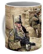 A Soldier Calls In Description Coffee Mug by Stocktrek Images